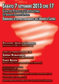 Sabato 7 settembre  - ore 17 - Seminario di approfondimento sull'America Latina