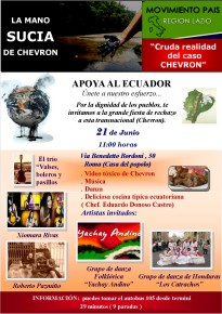 LA MANO SUCIA DE CHEVRON - Solidarietà con l'Ecuador