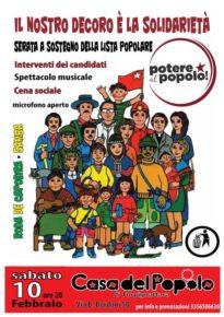 SABATO 10 FEBBRAIO ORE 20,00 - SERATA a SOSTEGNO DELLA LISTA POTERE AL POPOLO TORPIGNATTARA