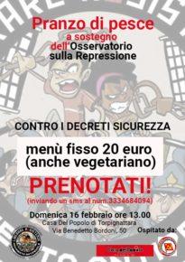 Domenica 16 febbraio -  Osservatorio sulla repressione contro i decreti sicurezza.